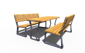 street furniture, ławki miejskie, other, picnic set, seating, for warsaw, odlew aluminiowy, wood backrest, wood seating, table