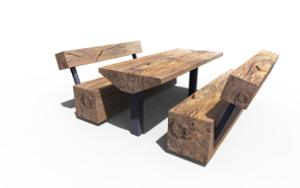 street furniture, ławki miejskie, picnic set, seating, wood backrest, wood seating