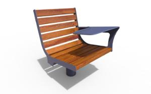 street furniture, chair, for single person, seating, wood backrest, wood seating, table
