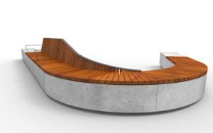 street furniture, ławki miejskie, concrete, smooth concrete, bench, seating, modular, wood backrest, armrest, curved, wood seating