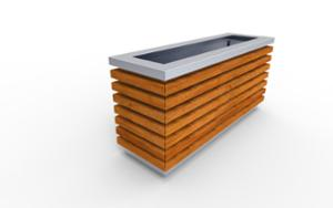 street furniture, ławki miejskie, planter, wood, rectangular, steel