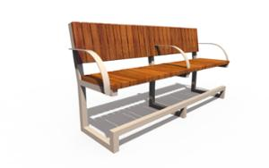street furniture, ławki miejskie, price per metre, for elderly people, length measured on longer side, seating, wood backrest, armrest, wood seating