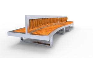 street furniture, ławki miejskie, price per metre, length measured on longer side, double-sided , seating, wood backrest, curved, wood seating