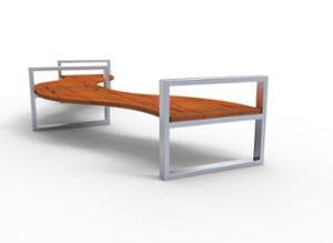 street furniture, ławki miejskie, double-sided , bench, curved, wood seating