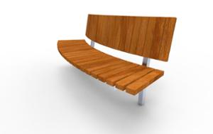 street furniture, ławki miejskie, seating, logo, wood backrest, curved, wood seating