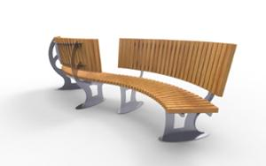 street furniture, ławki miejskie, price per metre, length measured on longer side, double-sided , seating, logo, wood backrest, curved, wood seating