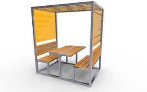 street furniture, ławki miejskie, other, picnic set, seating, pergola, table, canopy, shade