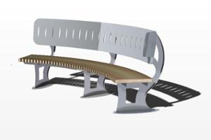 street furniture, ławki miejskie, price per metre, length measured on longer side, seating, logo, steel backrest, curved, wood seating