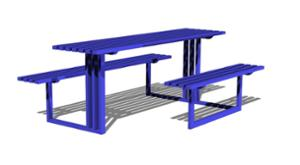 street furniture, ławki miejskie, picnic set, bench, accessible for disabled, steel seating, table