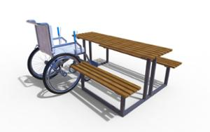 street furniture, ławki miejskie, picnic set, bench, accessible for disabled, wood seating, table