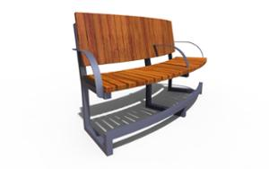 street furniture, ławki miejskie, price per metre, for elderly people, length measured on longer side, seating, wood backrest, armrest, curved, wood seating