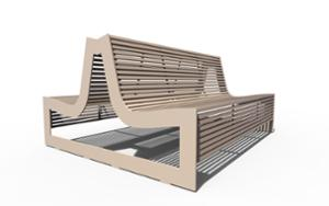 street furniture, ławki miejskie, double-sided , seating, steel backrest, steel seating, vandal-resistant
