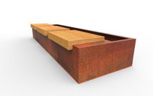 street furniture, ławki miejskie, corten, planter, bench, rectangular, wood seating