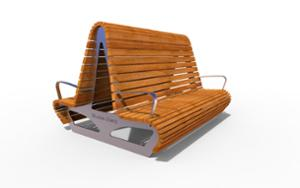 street furniture, ławki miejskie, double-sided , seating, logo, wood backrest, armrest, wood seating, high backrest