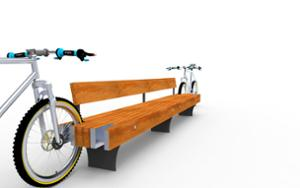 street furniture, ławki miejskie, seating, for wheel, wood backrest, bicycle stand, wood seating