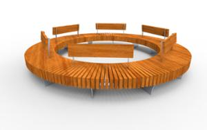 street furniture, ławki miejskie, price per metre, length measured on longer side, seating, wood backrest, curved, wood seating