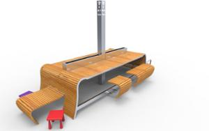 street furniture, ławki miejskie, 230v and/or usb socket, other, bench, seating, wood seating, wifi station, table