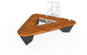 street furniture, ławki miejskie, bench, for wheel, bicycle stand, wood seating, multiple stands