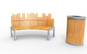street furniture, ławki miejskie, price per metre, length measured on longer side, seating, wood backrest, curved, scandinavian line, wood seating