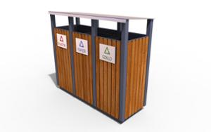 street furniture, ławki miejskie, canopy roof / lid, litter bin, full segregation