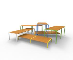 street furniture, ławki miejskie, double-sided , bench, modular, wood seating, table