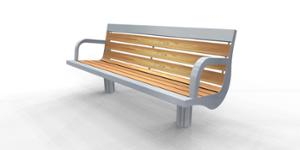 street furniture, ławki miejskie, seating, logo, wood backrest, armrest, wood seating