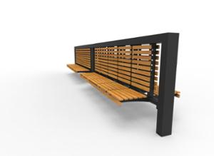 street furniture, ławki miejskie, double-sided , seating, modular, wood backrest, wood seating, high backrest