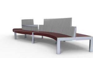 street furniture, ławki miejskie, double-sided , seating, wood backrest, upholstered seating