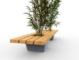 street furniture, ławki miejskie, concrete, smooth concrete, planter, bench, wood seating