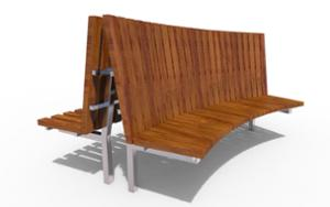 street furniture, ławki miejskie, price per metre, horizontal planks, length measured on longer side, double-sided , seating, curved, high backrest