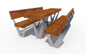 street furniture, ławki miejskie, other, picnic set, seating, wood backrest, wood seating, table