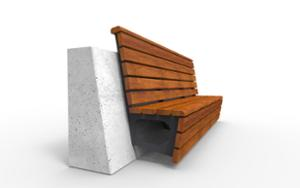 street furniture, ławki miejskie, concrete, smooth concrete, attached to wall, seating, modular, wood backrest, wood seating, high backrest