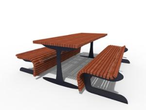 street furniture, ławki miejskie, other, picnic set, bench, wood seating, table