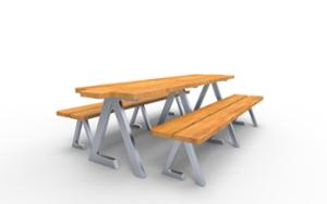 street furniture, ławki miejskie, double-sided , picnic set, bench, wood seating, table