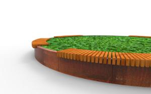 street furniture, ławki miejskie, corten, planter, bench, curved, wood seating