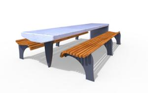 street furniture, ławki miejskie, concrete, smooth concrete, other, picnic set, bench, wood seating, table, vintage