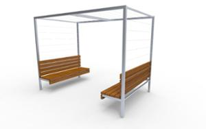 street furniture, ławki miejskie, double-sided , other, seating, wood backrest, pergola, wood seating