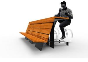 street furniture, ławki miejskie, easy installation, seating, for wheel, wood backrest, bicycle stand, wood seating, table, cyclist table, multiple stands, high backrest