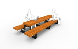 street furniture, ławki miejskie, double-sided , picnic set, bench, seating, wood backrest, wood seating, table