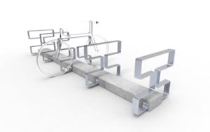 street furniture, ławki miejskie, concrete, smooth concrete, modular, bicycle stand, cycle rack, multiple stands, free-standing