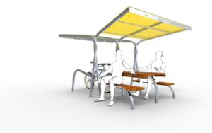 street furniture, ławki miejskie, picnic set, bench, seating, modular, bicycle stand, cycle rack, wood seating, bicycle station, table, canopy, bicycle canopy, multiple stands
