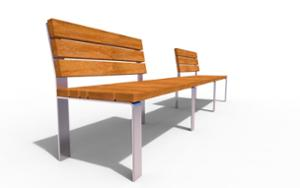 street furniture, ławki miejskie, double-sided , seating, modular, wood backrest, wood seating