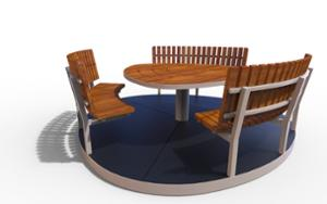 street furniture, ławki miejskie, other, picnic set, seating, curved, table
