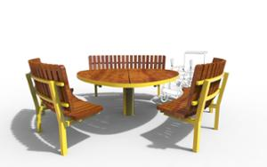 street furniture, ławki miejskie, price per metre, length measured on longer side, other, picnic set, seating, accessible for disabled, curved, table, high backrest