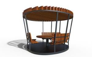 street furniture, ławki miejskie, other, picnic set, seating, pergola, curved, table