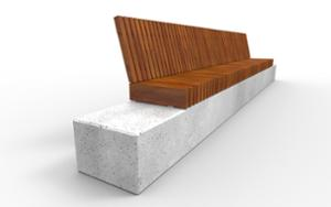 street furniture, concrete, smooth concrete, seating, wood backrest, wood seating
