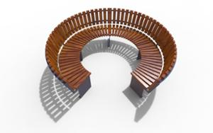 street furniture, ławki miejskie, seating, modular, wood backrest, curved, wood seating
