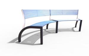 street furniture, ławki miejskie, price per metre, length measured on longer side, seating, steel backrest, curved, steel seating