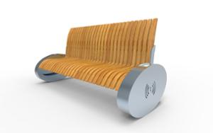 street furniture, 230v and/or usb socket, induction/qi charger, seating, wood backrest, wood seating