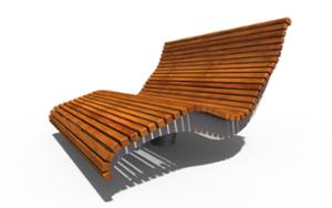 street furniture, seating, chaise longue, rotatable, wood backrest, wood seating, high backrest